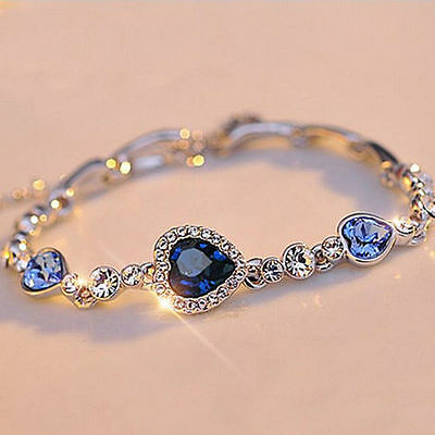 HOT Fashion Women Girls Blue Crystal Jewelry Silver Plated Charm Bracelet Bangle
