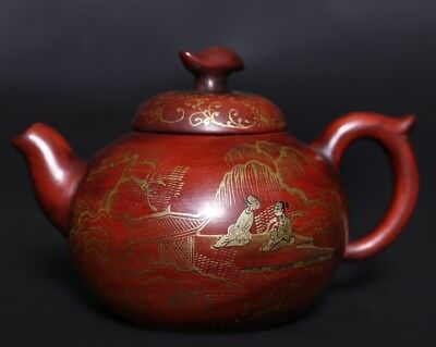 China Hand Carving ZiSha Pottery Purple Sand Teapot Marks ChenZhongMei PT293