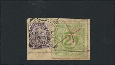 1901 London Brighton & South Coast Railway 2d Letter Label + 1d Lilac on Piece