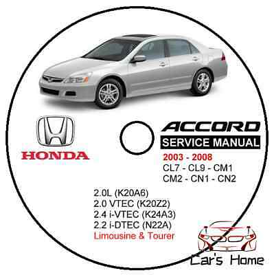 MANUALE OFFICINA HONDA ACCORD CL7 CL9 CM1 CM2 my 2003-2008 WORKSHOP MANUAL DVD