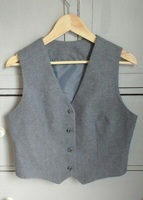 Vintage Pure New Wool Tailored Waistcoat by Scott the Kiltmakers Grey Unisex M