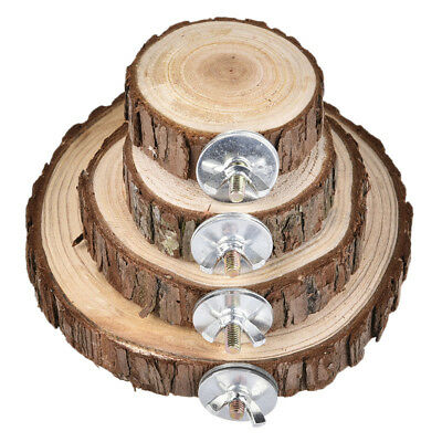Round Wooden Parrot Bird Hamster Cage Stand Platform Perch Hanging Pet Toy
