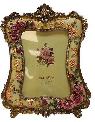 5x7 inch Photo Frame Modern Ornate Floral Antique Picture Frame with Diamante 2x