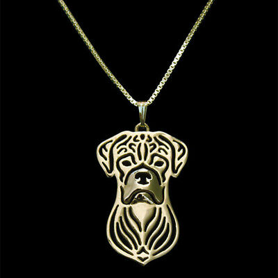 Boxer Pendant Necklace Gold Tone ANIMAL RESCUE DONATION