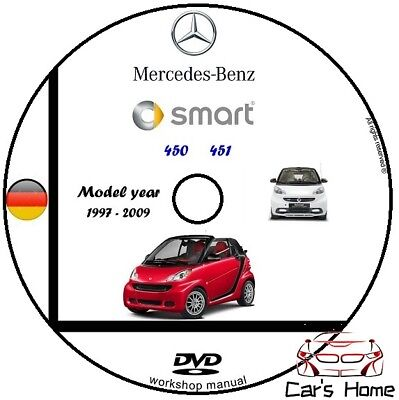 MANUALE OFFICINA SMART 450 451 my 1997 - 2009 WORKSHOP MANUAL DVD
