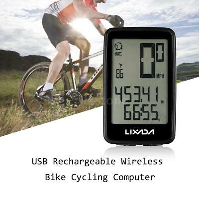 USB Rechargeable Wireless Bike Cycling Bicycle Computer with Cadence Sensor F9N7