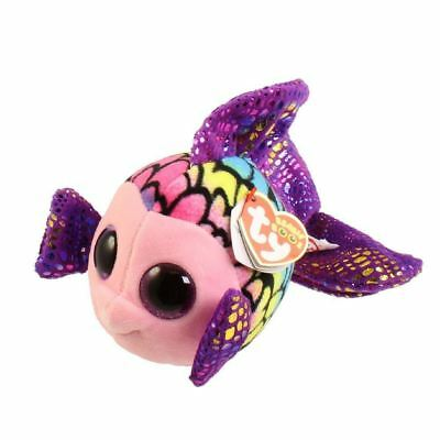 NEW Ty Beanie Boo Flippy the Fish Colourful Rainbow Soft Plush Collectable Toy
