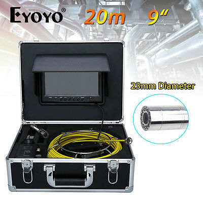 """Eyoyo 20M 9"""" 23mm LCD Pipe Pipeline Drain Inspection Sewer Video CCTV Camera TFT"""