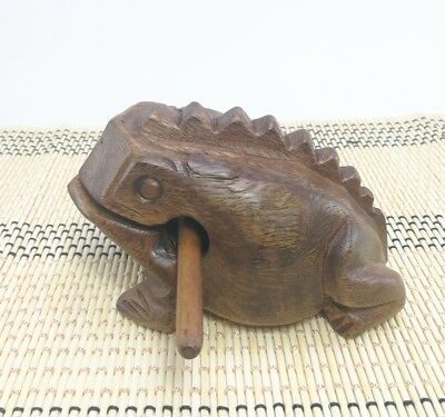 Medium Size Frog Carved Toy Thai Wooden Art Croaking Instrument Musical Sound