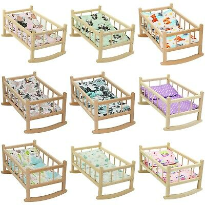 "DOLLS ROCKING BED COT CRIB Wooden Toy Fits Up to 46cm 18"" Doll"