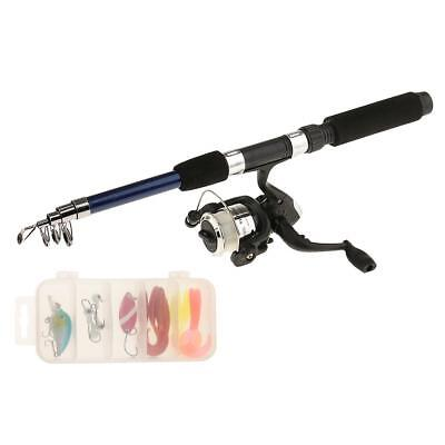Portable Fishing Rod with Fishing Reels Lines Bag and Box Fishing Set Blue