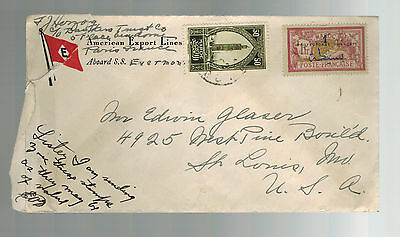 1920s Morocco  cover to USA American Export Lines