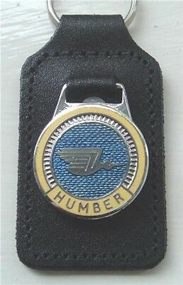 Humber leather and enamel keyring, key chain, Key fob