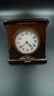 Vintage Swiss Travel Clock in Brown Leather Case