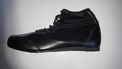 Black Ankle length Full Leather Boxing Boots Wrestling Shoe