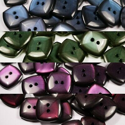 blue or purple glossy shiny square vintage retro buttons | 2 two hole | 17mm