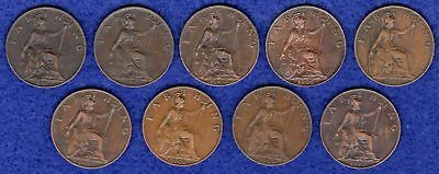 GB, Farthings, Edward VII, 1902 to 1910, Complete Date Run, 9 Coins (Ref. t0847)