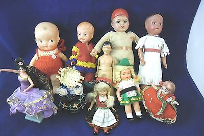 Lot of 10 Vintage Dolls Plastic & Celluloid -Italy, German, Japan and more.
