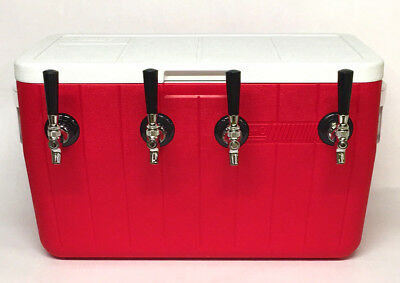"""Jockey Box Beer Cooler - 4 Faucet, 5/16"""" x 50' Stainless Steel Coils, 48qt Red"""