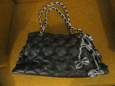 """BETTY BOOP PURSE 2010 King Features Syn.INC Black Sim. Leather """"Puffy"""" Molded"""