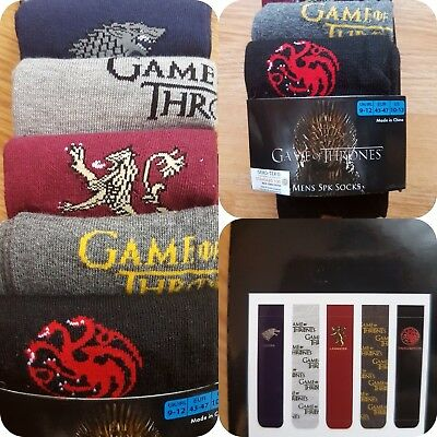 Game Of Thrones Men's Socks Winter Is Coming Officially HBO Merchandise BNWT