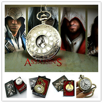 New Assassin's Creed Pocket Watch Connor Anime pocket watch On Chain with boxs