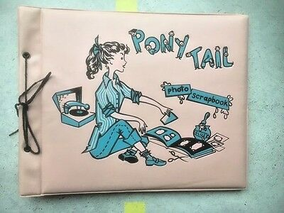 Vintage 1950S Pony Tail Girl Record Player Pink  Photo Scrapbook