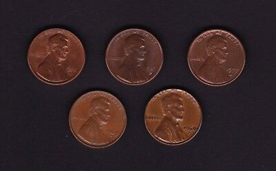 United States One Cent Coins x 5 all different dates 1964 - 1988