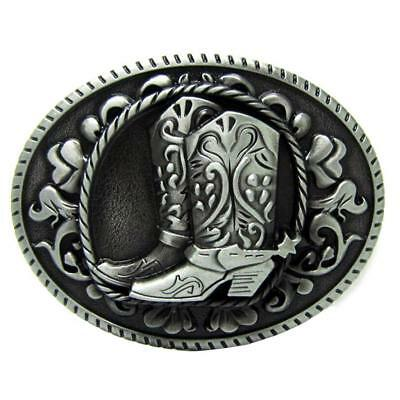 Vintage Oval Metal Western Cowboy Cowgirl Boots Rodeo Belt Buckle Line Dance