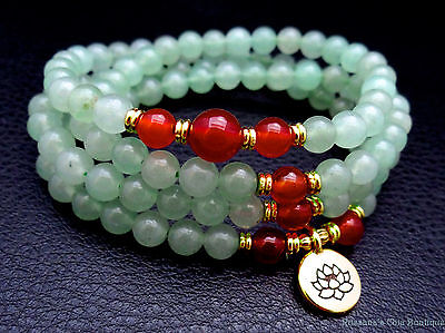 108 aventurine rosary necklace w/ red agate and gold plated lotus