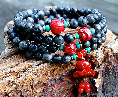 108 mala necklace larvikite w/ red coral, turquoise gold plated beads serenity