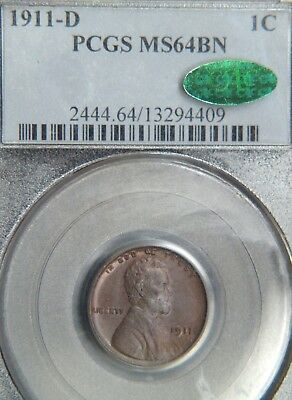 1911-D  Lincoln Cent PCGS/CAC  MS64 BN  (C9956)
