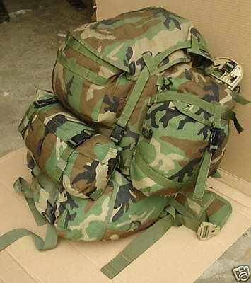 Complete Usgi Woodland Molle Ii Rucksack Pack With Sustainment And Waist Pack