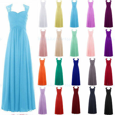 Hot Long Chiffon Prom Dress Formal Bridesmaid Evening Party Gown Stock Size 6-22