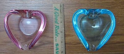 2 Vintage Murano ? Glass Small Heart Bowls Turquoise Pink Ashtray