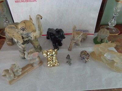 LOT OF 9 VINTAGE ELEPHANT FIGURINES - Ceramic, Resin, Sand, Chalkware and more