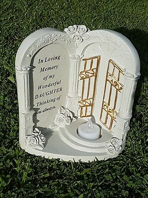 Daughter Grave Memorial Ornament Remembrance Gates To Heaven flickering Candle