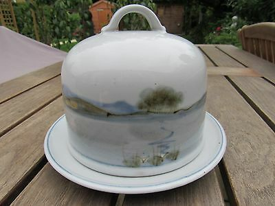 Hand Painted Highland Stoneware Scotland Cheese Dome & Plate Unused