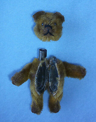"""Antique 3"""" Miniature Schuco Compact Mirror Lipstick Jointed Teddy Bear Germany"""