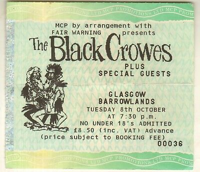 BLACK CROWES Glasgow Barrowlands Scotland 8th October 1991 UK TICKET STUB