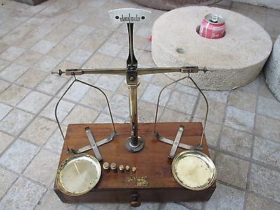 Antique Germany in Brass Scale Hartner Boxed Apothecary Pharmaceutical 5 Weights