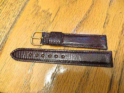 New Old Stock LeJour Brown GENUINE LIZARD Watch Band 18MM 11/16