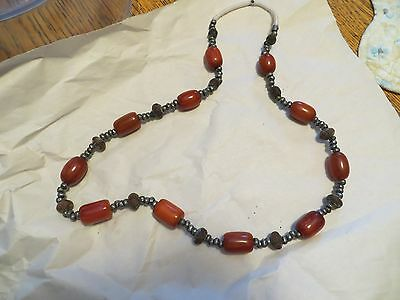 FUN Vintage Estate Bohemian Russian? Amber with Ruble + Wood Beads Necklace