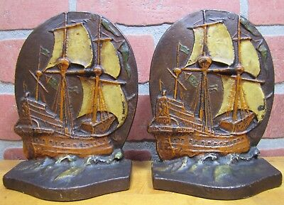 Antique Cast Iron Nautical Sail Ship Bookends Albany Fdy c1920s Ornate Old Paint