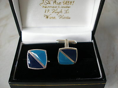 Quality Pair Of Sterling Silver & Enamel Cufflinks  Brand New In Box