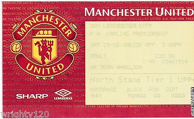 Manchester United V Leicester City 15 August 1998 Treble Season Ticket