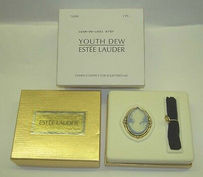 ESTEE LAUDER Youth Dew Blue Cameo Compact Solid Perfume + Pouch New in Box