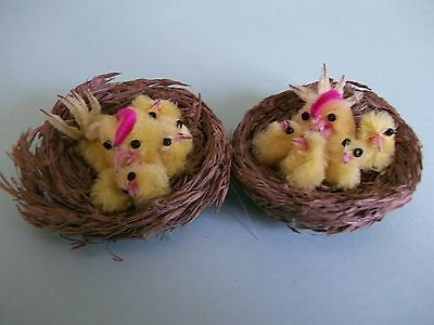 2 Vtg.easter Chenille Chicks~Mama Chick With Babies On Nest-Darling Antiques