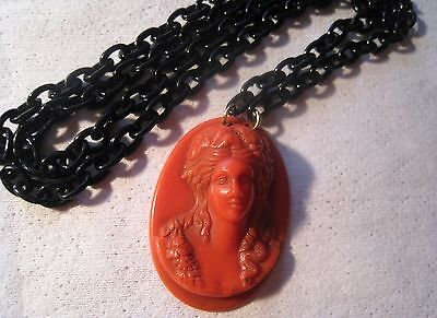 Victorian Coral Color Bakelite High Relief Cameo Black Celluloid Chain Necklace
