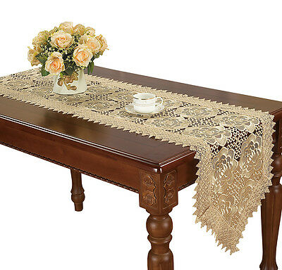Beige Embroidered Floral Lace Table Runners Dresser Scarves For Dining Table